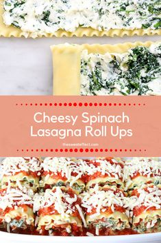 Vegetarian friendly, portion control individual lasagnas that will make anyone happy! Lasagna Roll Ups Spinach, Spinach Roll Ups, Cottage Cheese Eggs, Pork Pasta, Cheese Sauce For Pasta, No Noodle Lasagna, Supper Recipes, Portion Control, Happy Healthy