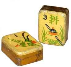 Antique Mah Jongg tiles. Beautiful! My parents used to play mahjong, sorry I didn't learn it.