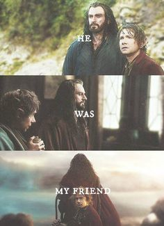 """Bilbo & Thorin - """"He was my friend."""" Such a sad and touching part in the film (one of many!) when Bilbo said that at the end of his journey in The Hobbit TBOTFA."""