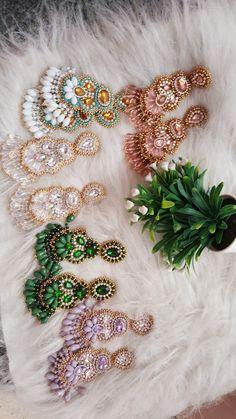 Diy Tassel Earrings, Crystal Earrings, Beaded Earrings, Beaded Jewelry, Jewelry Making Tutorials, Fabric Jewelry, How To Make Earrings, Minimalist Jewelry, Jewelry Crafts