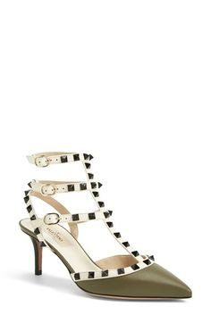 Valentino 'Rockstud' T-Strap Leather Pump (Women) available at #Nordstrom