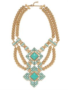 Bauble Bar turquoise and gold statement necklace