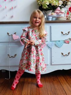 Nina Is An Oversized Cotton Winter Dress With Pink Roses Print. Comfy Bright and Fun! Dresses For Teens, Dresses Online, Winter Dresses, Summer Dresses, Boho Flower Girl, Rose Dress, Happy Kids, Pink Roses, Comfy