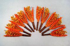10 boutineers fall rustic wedding orange rust dried by Rationale, $110.00