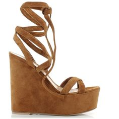 Gianvito Rossi Suede Wedge Sandals (€451) ❤ liked on Polyvore featuring shoes, sandals, heels, wedges, suede sandals, brown platform sandals, brown lace up sandals, lace up platform sandals and lace up wedge sandals