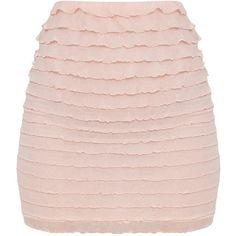 Petite Blush Ruffle Bodycon Skirt ($25) ❤ liked on Polyvore featuring skirts, flounce skirt, petite skirts, ruffle skirt, pink skirt and frilled skirt