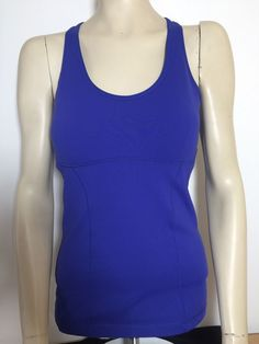 Lucy Activewear Women's Sleeveless Racerback Tank Top with Shelf Blue Sz. M…