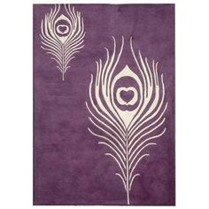 Purple Peacock Feather New Zeland Wool Rug from $50.99 www.allthingspeacock.com - Peacock Rugs