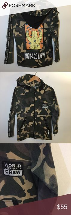 "Jumeifushi • camo 420 bear graphic hood zip jacket Unique, one-of-a-kind jacket by Korean designer Qing Yuan Shui!  Jacket has been well loved and worn - see images for wear, light pilling on sleeves. Lots of life left!   Tag says size Medium - fits like a Men's Small. Please check measurements.  19"" across chest 17"" arm inseam 26"" length jumeifushi Jackets & Coats"