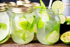They have a table full of beer, a few boxes of wine and a giant ice bucket filled with frosty jars of mint-infused mojitos. MASON JAR MOJITOS Ingredients: makes 6 mojitos — 36 mint leaves — 12 tablespoons lime juice — 6 tablespoons superfine or caster sugar — 12 fluid ounces (equivalent to 8 shots) white