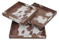 Asst. of 3 Faux Cowhide Trays, Brown