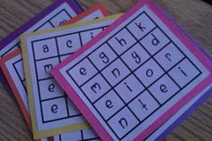Individual Boggle board - a great 'fill-in' or ''early finishers' activity (my boards have the instructions on the back) and are laminated so they can be used over and over. I omitted the letter 'f' and checked my boards to make sure there were no rudes words in them. Grade 4 and up.: