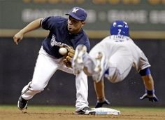 James Loney is thrown out stealing during the Dodgers 5-4 loss to the Brewers April 17, 2012.