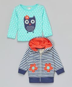 Look what I found on #zulily! Turquoise Owl Tee & Zip-Up Hoodie - Infant & Toddler by Mini Bamba #zulilyfinds