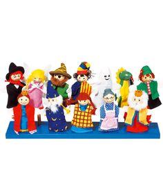 Vingerpoppen 12 stuks. Set met 12 vingerpoppen met verschillende stoffen outfits. Materiaal pop: hout. Tussen de 10 en 13 cm. groot. Geschikt vanaf 3 jaar.