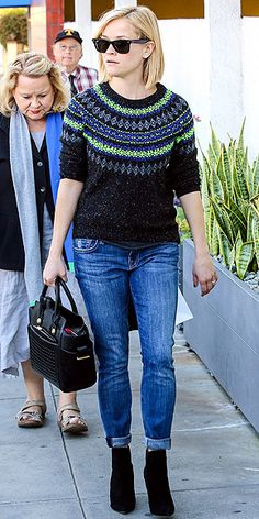 Oh Reese, perfect hair cut, booties, and fair isle sweater
