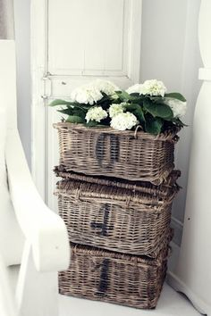 Gypsy Purple home. French Baskets, Old Baskets, Wicker Baskets, Rustic Baskets, Woven Baskets, Picnic Baskets, Purple Home, Country Decor, Farmhouse Decor