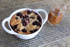 Blueberry Recipes - Cakes, Pies, Muffins, Pancakes and Desserts: Blueberry Bread Pudding with Vanilla Sauce