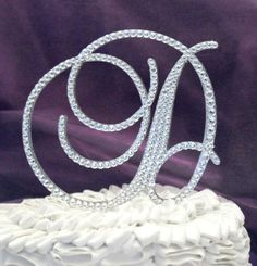 Monogram Wedding Cake Topper in any letter A B C D E F G H I J K L M N O P Q R S T U V W X Y Z on Etsy, $50.00
