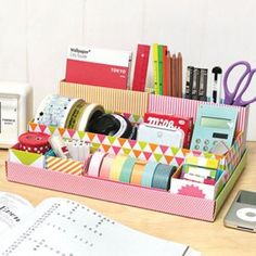 Lovely desk top DIY storage box in box - playground by Byfulldesign. There are many options available for these lil diy 'build up yourself' desk tidy boxes. Diy Storage Boxes, Desk Organization Diy, Paper Storage, Craft Storage, Diy Desktop, Desktop Storage, Korean Stationery, Kawaii Stationery, Organizer