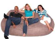 7.5-feet Xx-large Earth Cozy Sac Foof Bean Bag Chair Love Seat  The Cozy Sac foam chair is the most comfortable place to sit anywhere. They are filled with the softest virgin urethane foam available. The urethane foam will spring back to normal size after every use and not go flat like the traditional bean bag chairs.