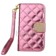 Fashion Grid Pattern Wallet Style Magnetic Flip Stand TPU+PU Leather Case for iPhone 5/5S with Card Slot and Strap(Pink)