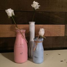 Set of Painted Vases, Gender Reveal, Welcome Spring, Flower Vases, Home Decor, Nursery, Baby Shower, Upcycled by DesignCreateInspire on Etsy