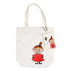 A beautiful white Little My textile shopping bag, with red and orange details. The bag is 32x34 cm and the package includes a cellphone case sized 15x8cm. Combine it with anything you like. Making it a part of your outfit!