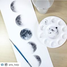 I love this so much. Last night was a full moon. Did it effect you much? People were driving crazy and my emotions were in full swing. Ha! #Repost @arts_help with @repostapp. Moon Phases By @elle_wills _ Also check out our new art featuring page Arts-help by soulpaintco