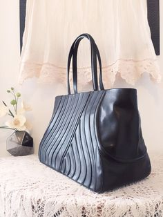 Black leather satchel genuine leather bag hand made by PomponiBags