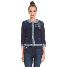 Denim jacket, decorative detail denim blue