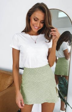 Cool and cute is what you will be feeling this summer season in the Laura Skirt Green Polka. This mini skirt features a front slit and gives the body a flatteri Beach Tan, Blonde Highlights, Denim Skirt, Spring Fashion, Short Dresses, Mini Skirts, Classy, Tees, Womens Fashion