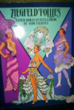 """COLLECTIBLE PAPER DOLLS """"ZIEGFELD FOLLIES"""" TOM TIERNEY  1985  23 COSTUMES 2 DOLL #DOVER"""