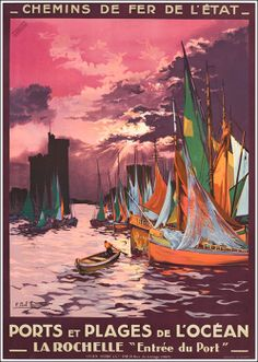 Vintage French Railways La Rochelle Tourism Poster PrintPaper Size - x or 16 5 inc x 11 7 incAll prints are the best possible fit Vintage French Posters, Vintage Travel Posters, Vintage Ads, French Vintage, Retro Poster, Poster Ads, Advertising Poster, Poster Prints, La Rochelle France
