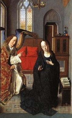 Dirk Bouts (Dutch: 1415-1475) - The Annunciation ((Polyptych of the Virgin, the wing) (1445)