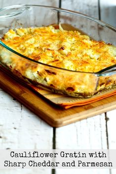 Cauliflower Gratin with Sharp Cheddar and Parmesan can be a nice stand-in for Mac-n-Cheese and this cheesy cauliflower dish is low-carb, Keto, low-glycemic, gluten-free, meatless, and South Beach Diet friendly.Use theRecipes-by-Diet-Type Indexto find more recipes like this one. Click here to PIN Cauliflower Gratin with Sharp Cheddar and Parmesan! This Cauliflower Gratin with Sharp Cheddar…