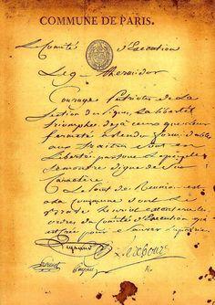 Cet appel adressé à la section des Piques, celle de Robespierre, par le Comité d'exécution de la Commune dans la nuit du 9 thermidor, avec la signature interrompue de Robespierre (Ro...) et la tache (de sang ?) au bas de la page, a fait couler beaucoup d'encre.