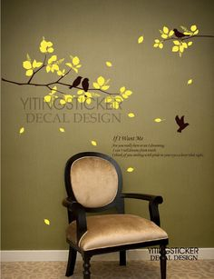 Birds on Spring Branch Treedecor wall sticker art by yitingsticker, $22.99