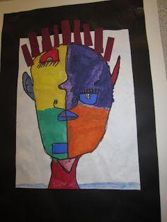 Elementary Art Self-portrait cubism picasso painting paint lesson