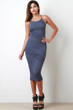 Diagonal Ribbed Crisscross Back Midi Dress – Label of CC $65.99