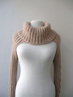 Knit Turtleneck Shrug - beige mohair - cabled long sleeves