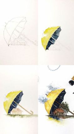 Illustration art sketches ideas 62 ideas for 2019 Watercolor Artwork, Watercolor Illustration, Watercolour Drawings, Watercolor Painting Tutorials, Watercolor Artists, Drawing Sketches, Art Drawings, Sketch Art, Drawing Ideas