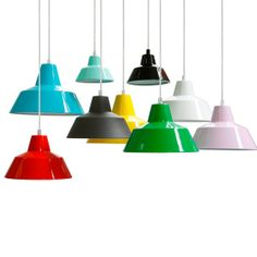 """Workshop Lamp W3 in 13 colors by Danish firm """"Made by Hand"""".  35 cm diameter 937,50 DKK, 28 cm diameter 748,50 DKK, 18 cm diameter 483.75 DKK."""