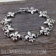 Antiqued Silver Fleur de Lis Bracelet by DuctTapeAndDenim on Etsy, $15.00 | DuctTapeAndDenim.etsy.com