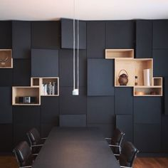 INSPIRATION : all black dining room, boxes & cupboards wall