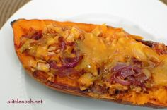 BBQ Chicken Stuffed Sweet Potatoes...Leave out cheese and it would be paleo.