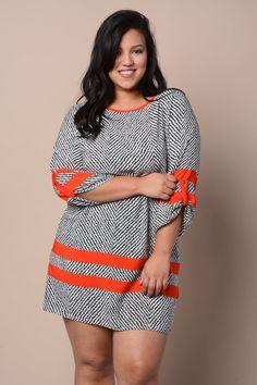 Loving this!  Plus Size Two Tone Stripe Dress