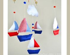 Boats Fish Lighthouse Baby Mobile Nautical by AContinualLullaby