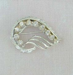 Elegant Wing Shaped Rhinestone Pin Floral Design Rhodium Plated Vintage Jewelry