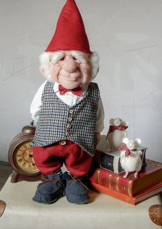 Needle Felted Gnome George with his mouse friend  by Woollittles
